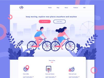 ONTEL - Sharing Bike Illustration Website