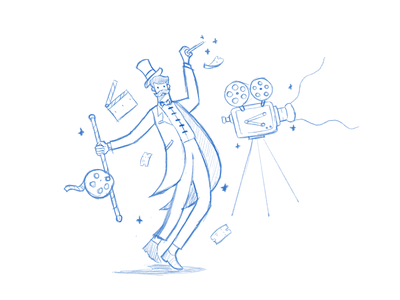 Login Page Illustration Exploration for Movie Website gradient design gradient flatillustration circus login magic movie animated gif landingpage character header website ui design vector illustration