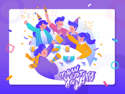 Happy New Year 2019 purple party gradiant flat illustration character illustration character concept fireworks new year 2019 character header website design vector illustration