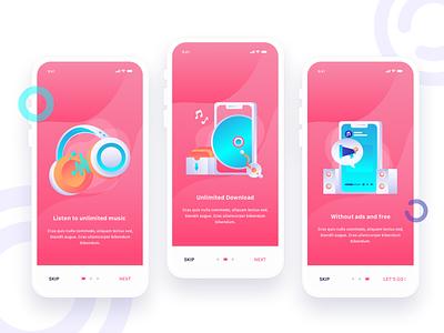 Music Apps Onboarding pink music music app onboarding onboarding illustration onboarding screen gradient design vector illustration