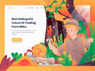 Bitku - Header Illustration for Crypto currency website