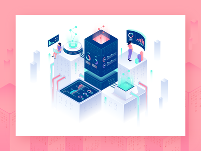 Data Analytics city 3d isometric illustration buiding data analytics data analysis isometric character design flat  design header gradient character ui website design vector illustration