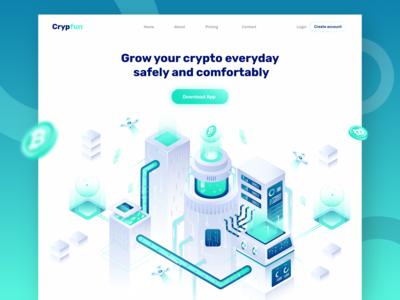 Cryptofun - Header Illustration for Cryptocurrency website