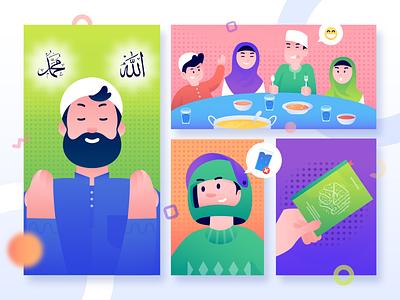 Marhaban Ya Ramadhan 1440 H fun art happy ramadhan fasting flat illustration character design flat  design gradient character design vector illustration