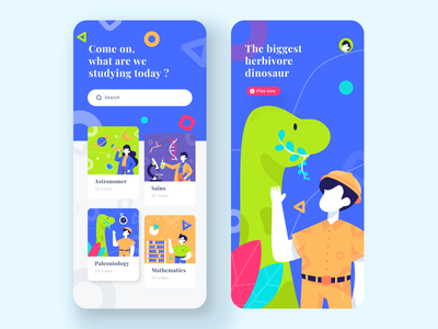 Learning apps - Discover the Secrets of Knowledge ux knowledge dinosaurs galaxy planets astronomy mathematics sains flat illustration flat  design character ui design vector illustration ios app ios app app design application