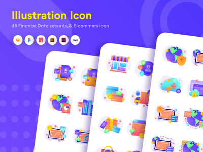 Icon Package for finance, Data Security and E-commerce ecommerce app data security data finance icon logo flat  design gradient ui design vector illustration