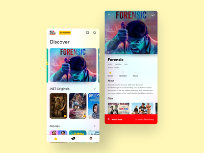 Streaming app disney netflix movie userinterface art illustration dribbble prakashgd red yellow design ios iphone app uiux ui