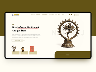 Hero Exploration | Antique Store yellow minimal website store typography india hero slider ux ui art design antique