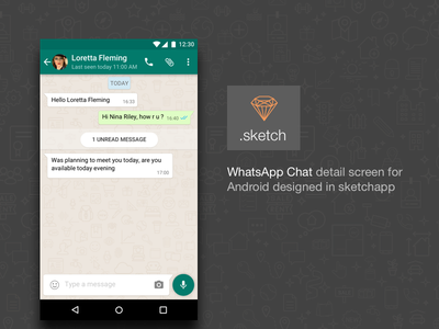 WhatsApp Chat Detail with .sketch source file freebie mobile app sketch material android popular dribbble ui chat whatapp