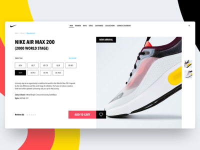 Nike New Arrival Product Page concept