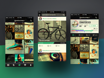 Wootocracy - App Design ui ux iphone app mobile grid profile product feed social