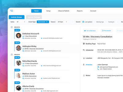 Dashboard Design User Interface for Scheduled Meetings