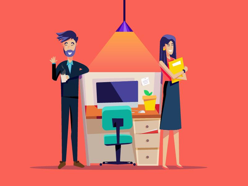 Welcome to ClearTax. The easy way to e-file ITRs work station cubical employee corporate character design vector