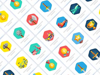 Achievement Badges vector gamification cards ui delight medal badges achievement game