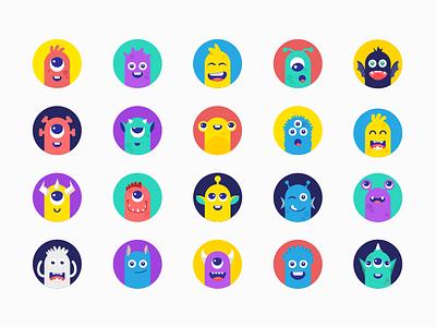 @Toppr Avatars 2018 happy monsters education learning kids character illustrator avatar vectors