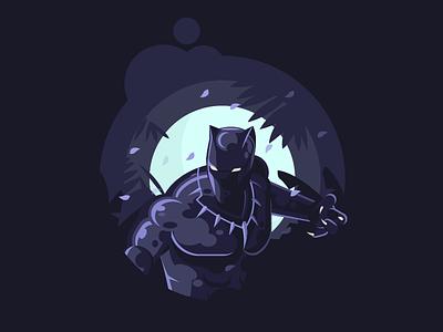 Black Panthaa animal panther black super print badge hero marvel illustration vector