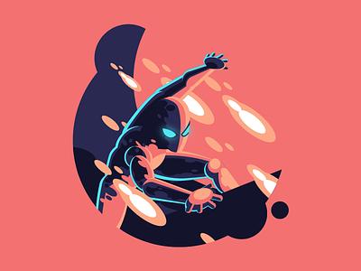 Iron Spidey animal panther black super print badge hero marvel illustration vector