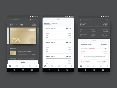Incentive Tab for Sales agents digital app android ux ui payout earnings target achievement card sales