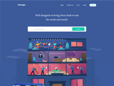 Landing page for Homigo.in india startup ease comfort illustration vector landing marketing co-living