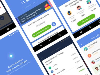 Invite & Earn invite share unlock offer incentive logo design money e-learning ui