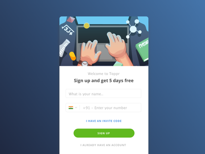 Sign Up with India's best learning app vector illustration ease ux sign up onboarding design e-learning ui