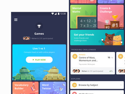 Learning is now a game for children fun education enrich delight android ux game invite gamification e-learning illustration ui vector