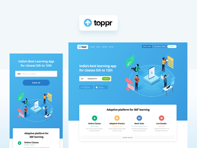 The new toppr.com exams lectures video practice learning adaptive future education india story telling ux homepage marketing ease tech e-learning character ui illustration vector