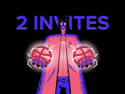 Hey hey hey. Got 2 more invites to give away experiment mad scientist vector illustration invites