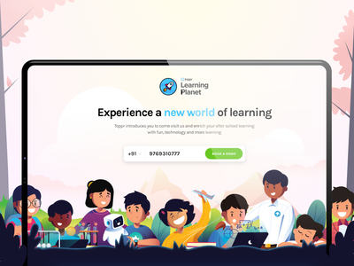 """""""Learning Planet"""" a co-learning space visual design ed tech education school learning children join book sign up ui vector tech co learning marketing site illustration"""