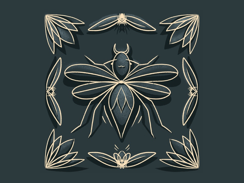Bug 1 bugherd style line gold insect bug texture procreate character