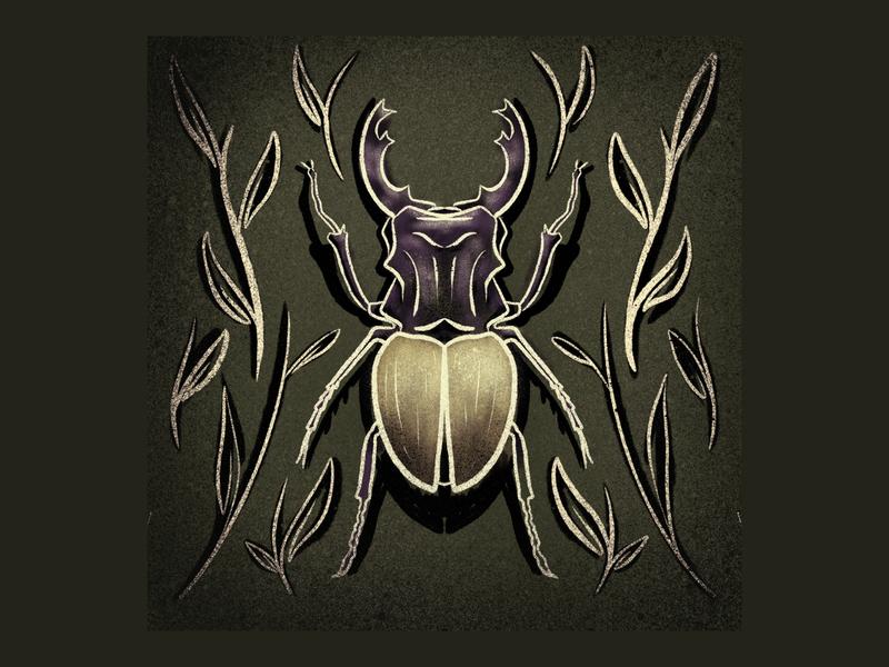 Bug 3 virus pumpkin shadow plant beetle scarab yellow purple texture procreate illustration