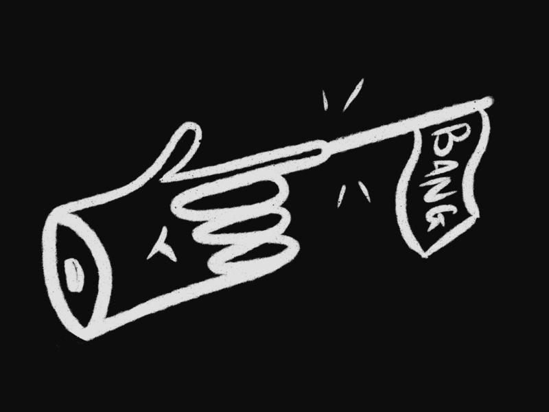 finger gun grayscale black brush gun hand finger bang