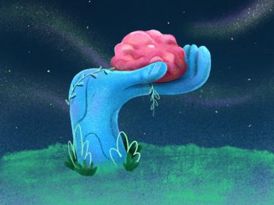 Ponder brains brain think hand nature sky lights magic silent night