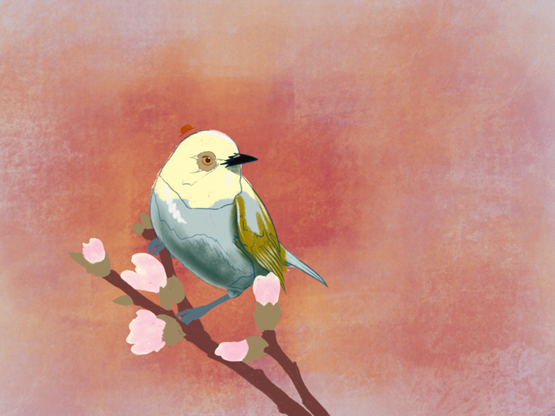 Little blue jobby brushes procreate illustration graphic design flowers pretty cute sweet bird new style experiment color