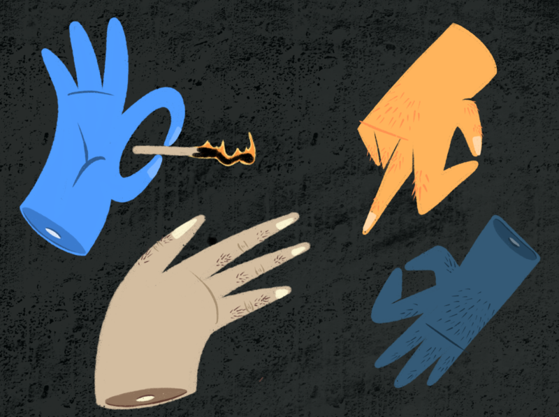 Hands On match flame fingers iconic texture hands illustrator illustration