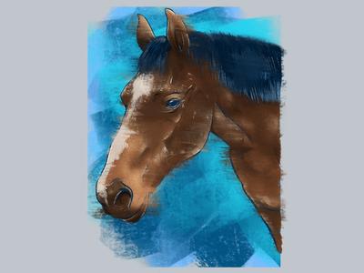 I said good neigh sir! smudge pun eyes blue procreate illustration horse