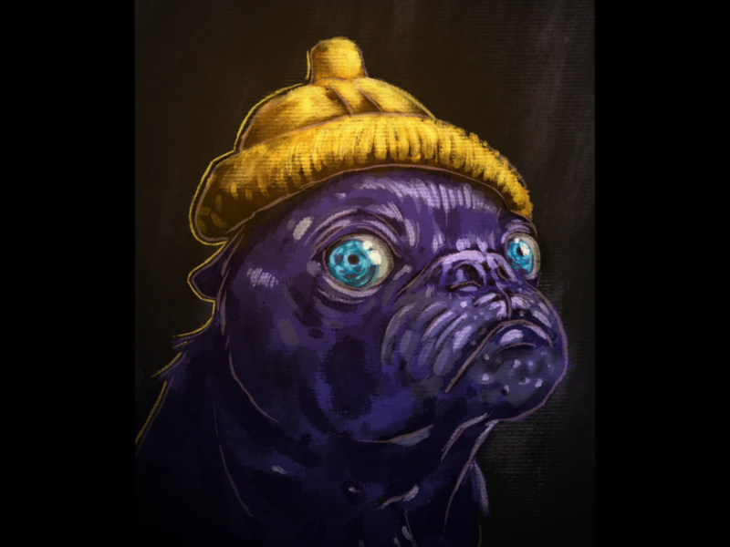 It's a Pugs life, that's what i'm told character flavour lighting light illustration illustrator procreate doodle eyes eye puppy contrast yellow purple texture user drawing dog