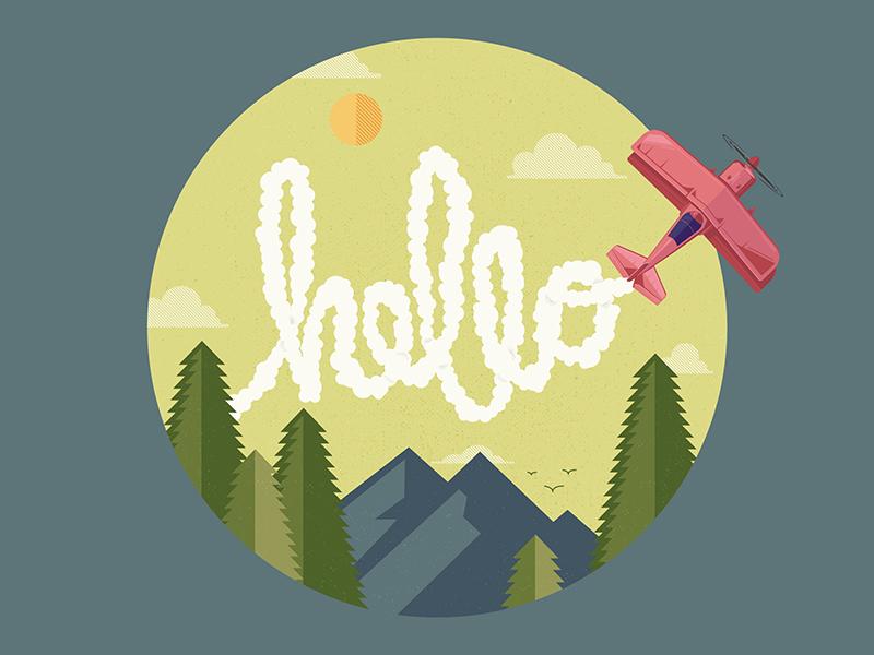 Hello Dribbble! mountains hello biplane plane vector flat typography illustration design first shot debut