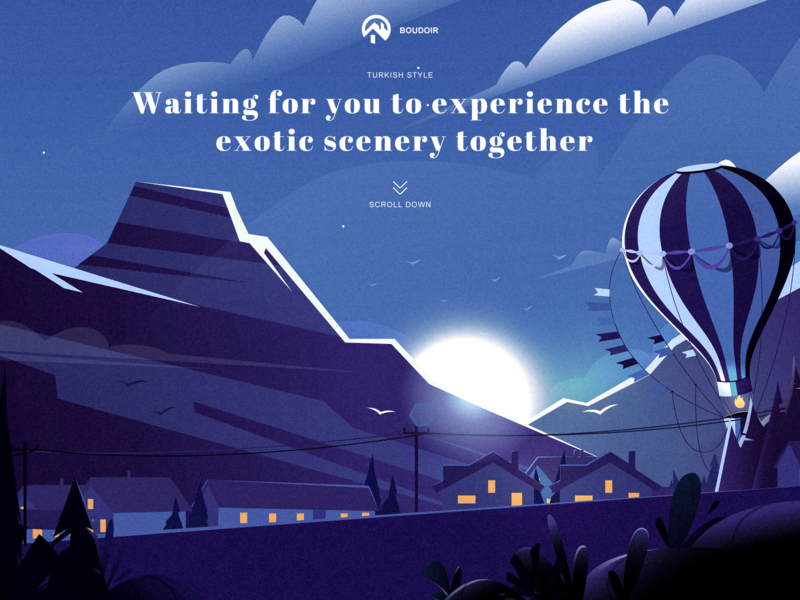 Travel Website Home design illustration turkey web jungle houses hot air balloon moonlight mountain peak
