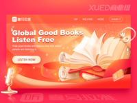 Global Good Books Listen Free web logo branding microphone headset illustration free reading