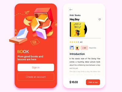 Book App / log in/ Details page red log in logo fox illustration brand