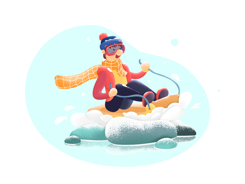 nowboarder kids illustration ski sled the snow