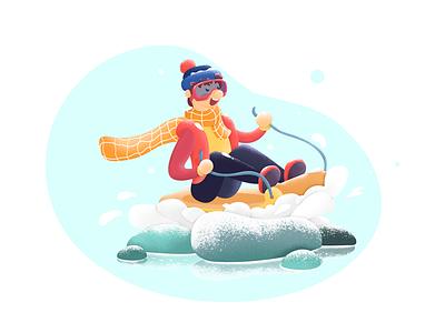 nowboarder kids illustration ski sled the snow