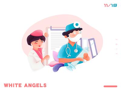 White angels illustrations folder equipment work sacred nurses and doctors