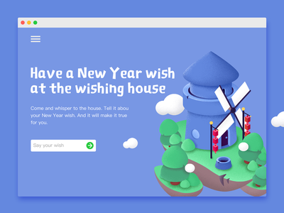 Wishing house wishing illustration house island floating cloud tree pine windmill