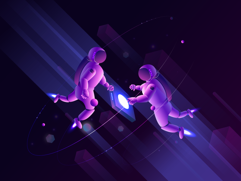 spaceman purple futuristic illustration astronaut flight universe space