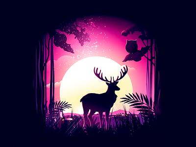 Quiet evening shadow 插图 故事 美丽 moonlight owl elk evening