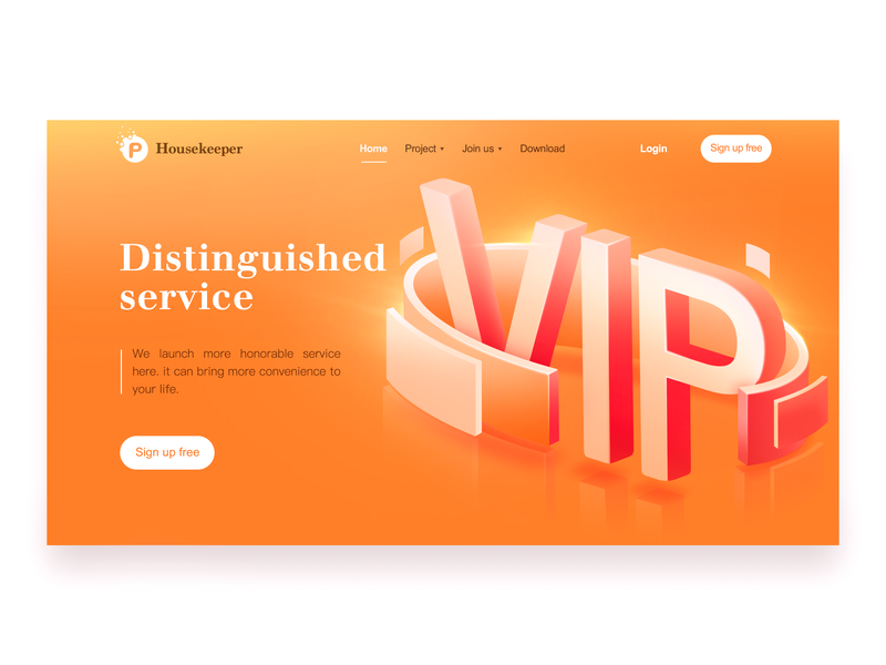 Housekeeper service vip orange web ui logo design pink beautiful illustration