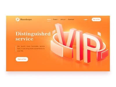 Housekeeper service vip orange web ui logo design pink beautiful illustration