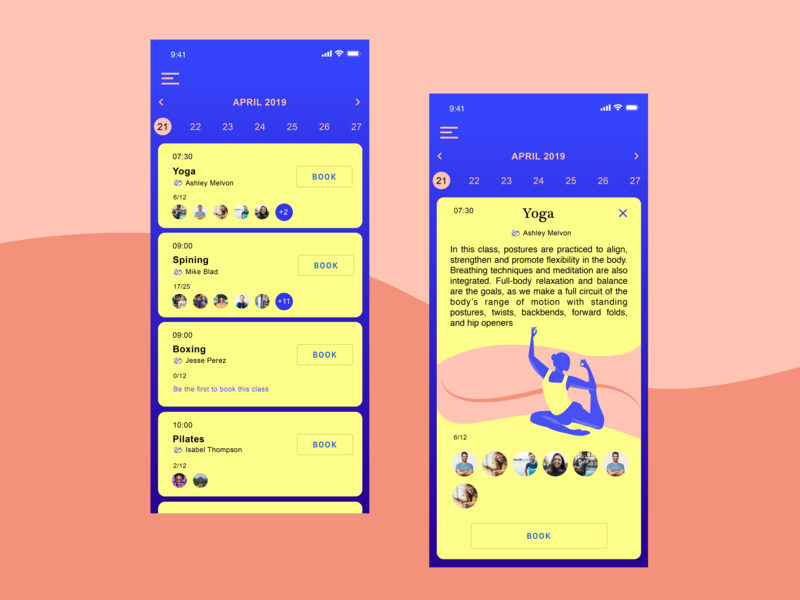 Studio App UI app design mobile app iphone vector charachter design design book app people illustration illustration yoga training sport mobile app product design ux ui  ux design ui  ux ui